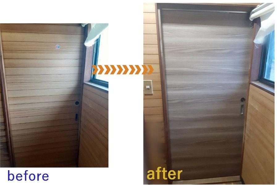 ドアの注文 戸車式引き戸を上吊り式引き戸へ交換 引き戸の注文 引き戸の交換 古い引き戸を新しい引き戸へ