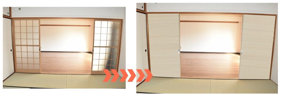 襖交換 障子交換 引き戸にする 引き戸注文 オーダー引き戸 木製引き戸