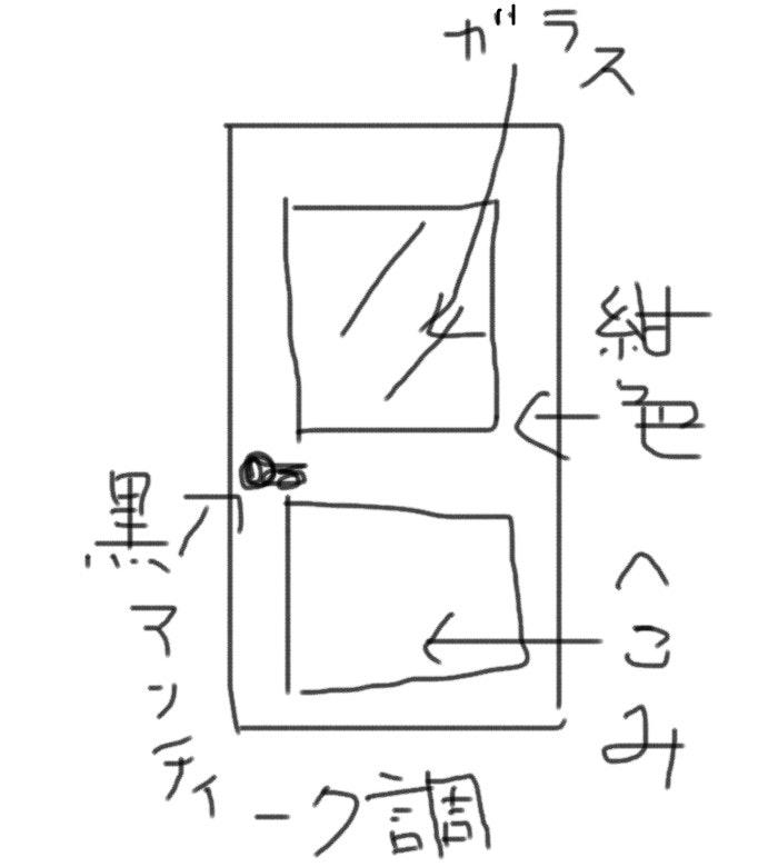 ドアのイラスト 図面 デザイン扉注文 建具