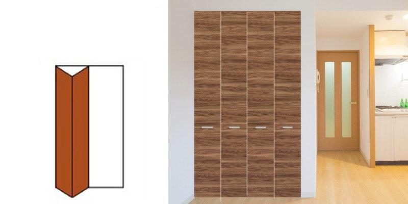 ドア注文 引き戸注文 折れ戸注文 建具注文 木製クローゼット折戸 収納 ワンポイントカラー オーダードア ドアの注文 室内ドア クローゼットドア マンションのドア